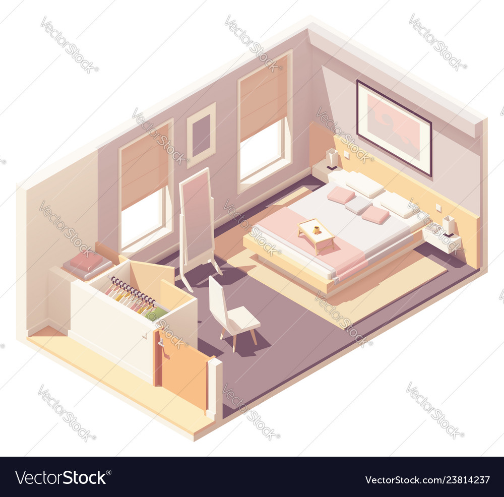 Isometric bedroom and wardrobe