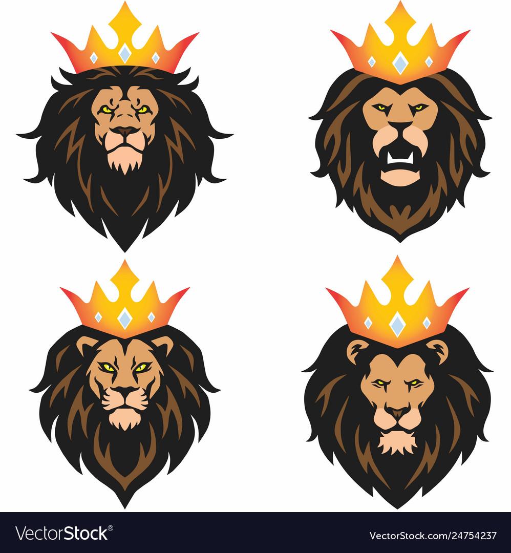 Lion head mascot set with crown logo