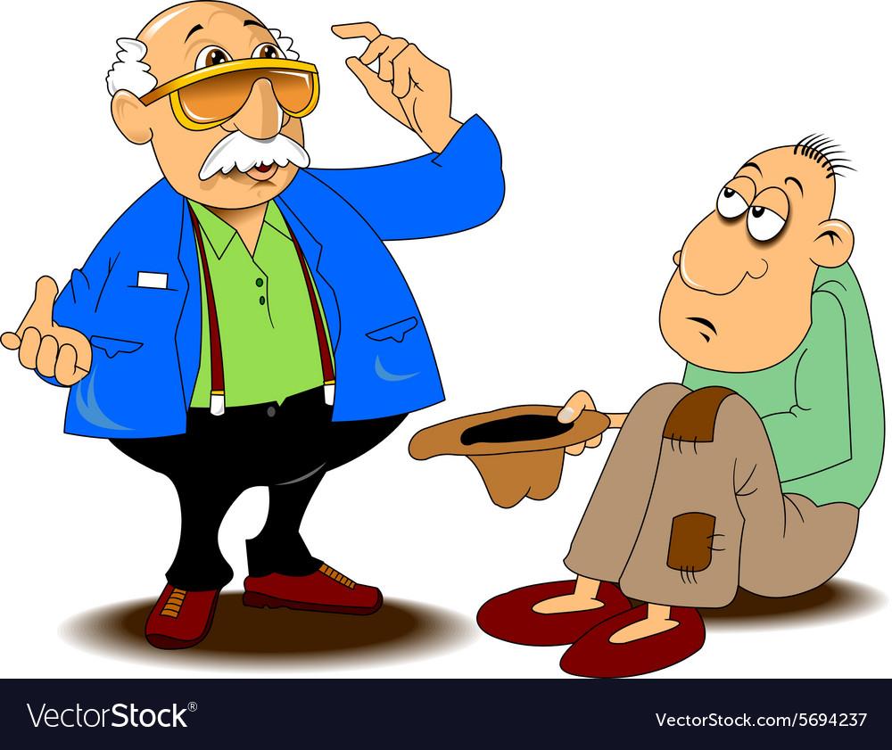 Man with beggar cartoon vector image