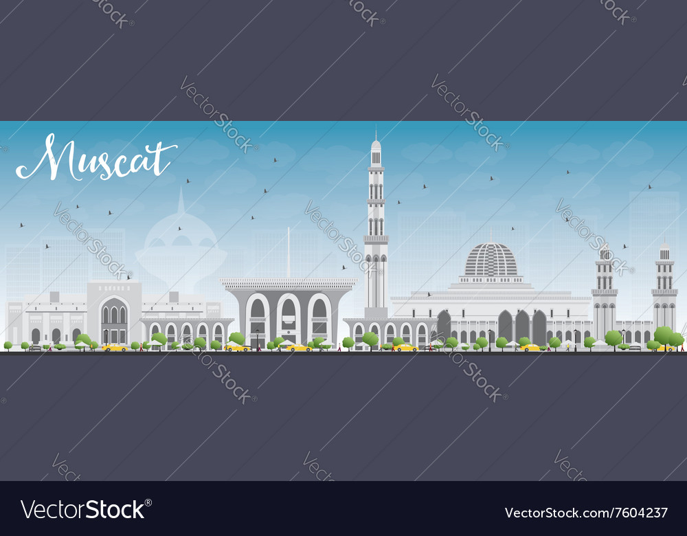 Muscat Skyline with Gray Buildings and Blue Sky