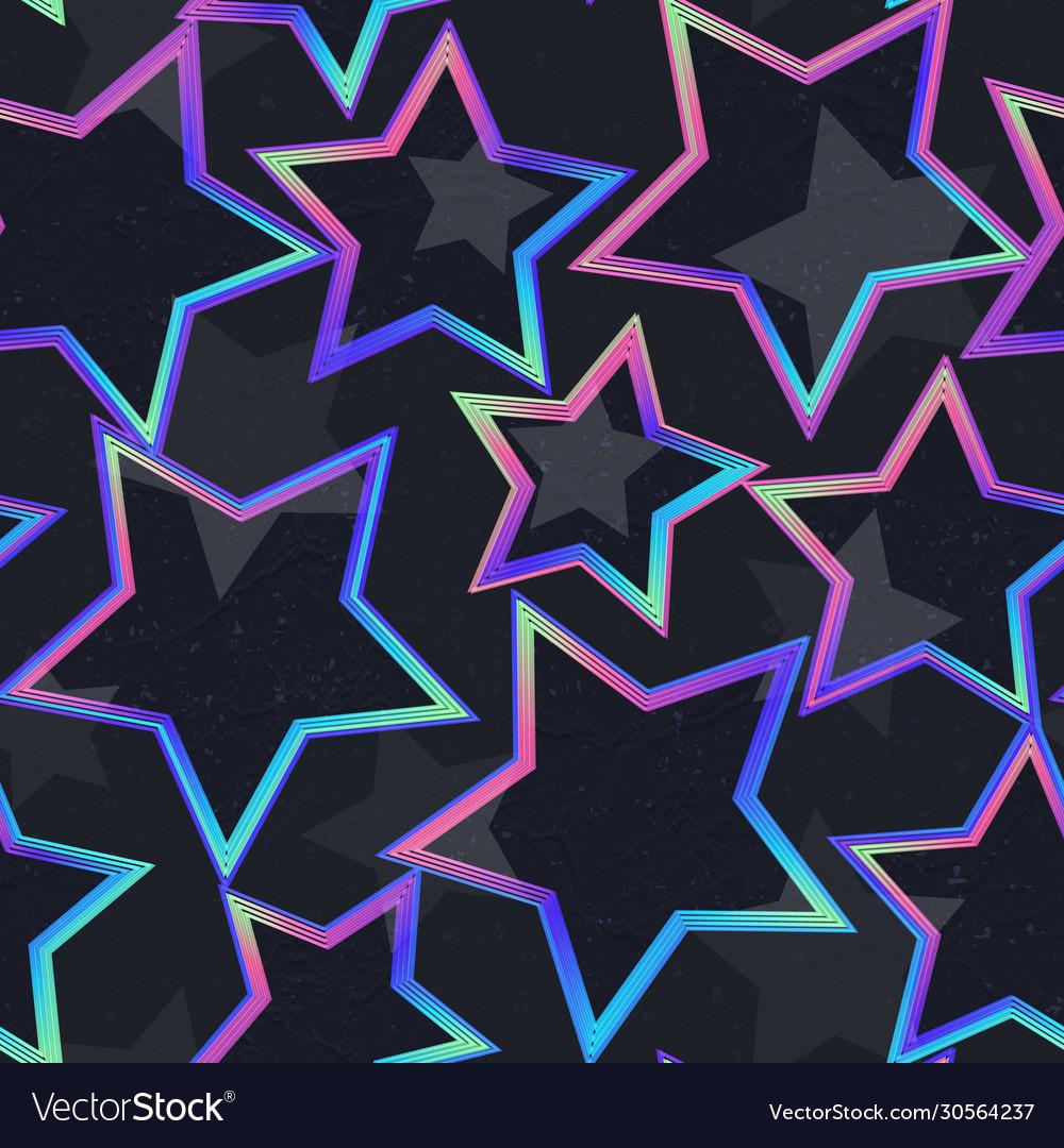 Neon star geometric seamless pattern