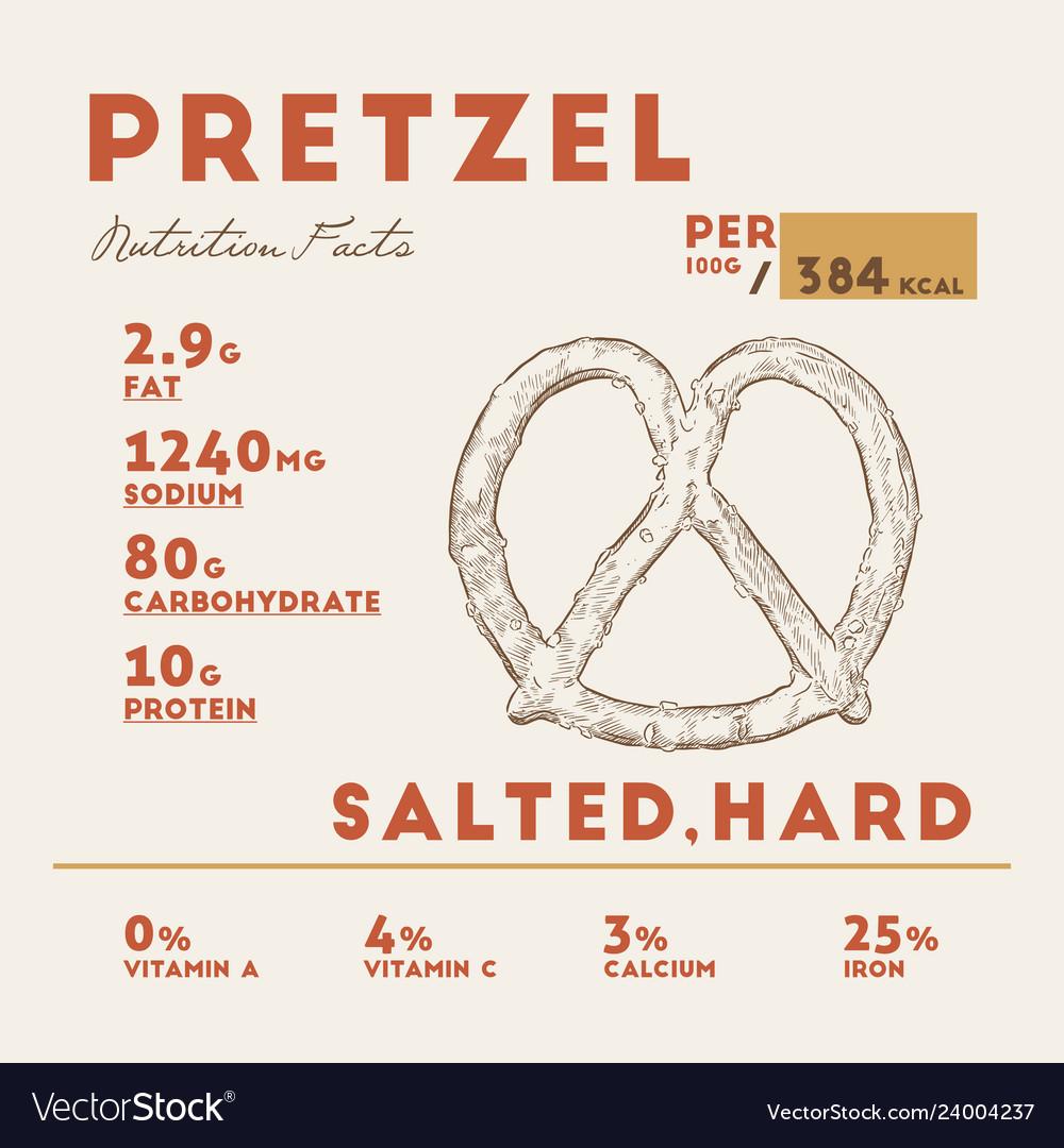 Nutrition fact of pretzel hand drawn
