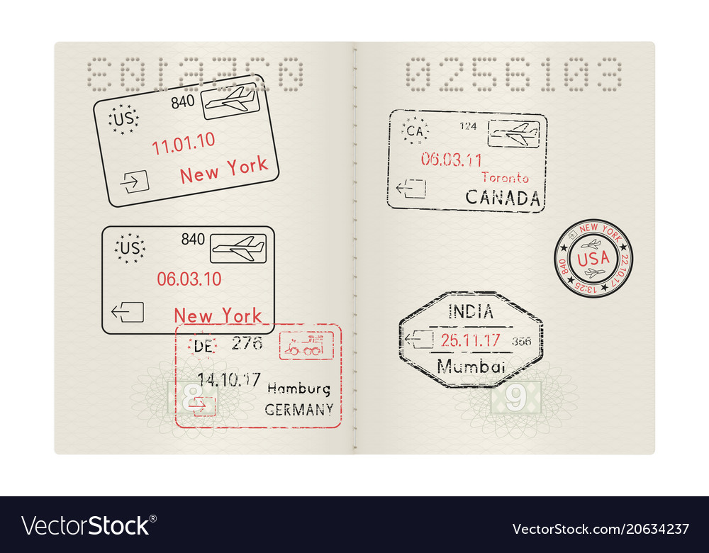 Passport pages with international stamps of usa