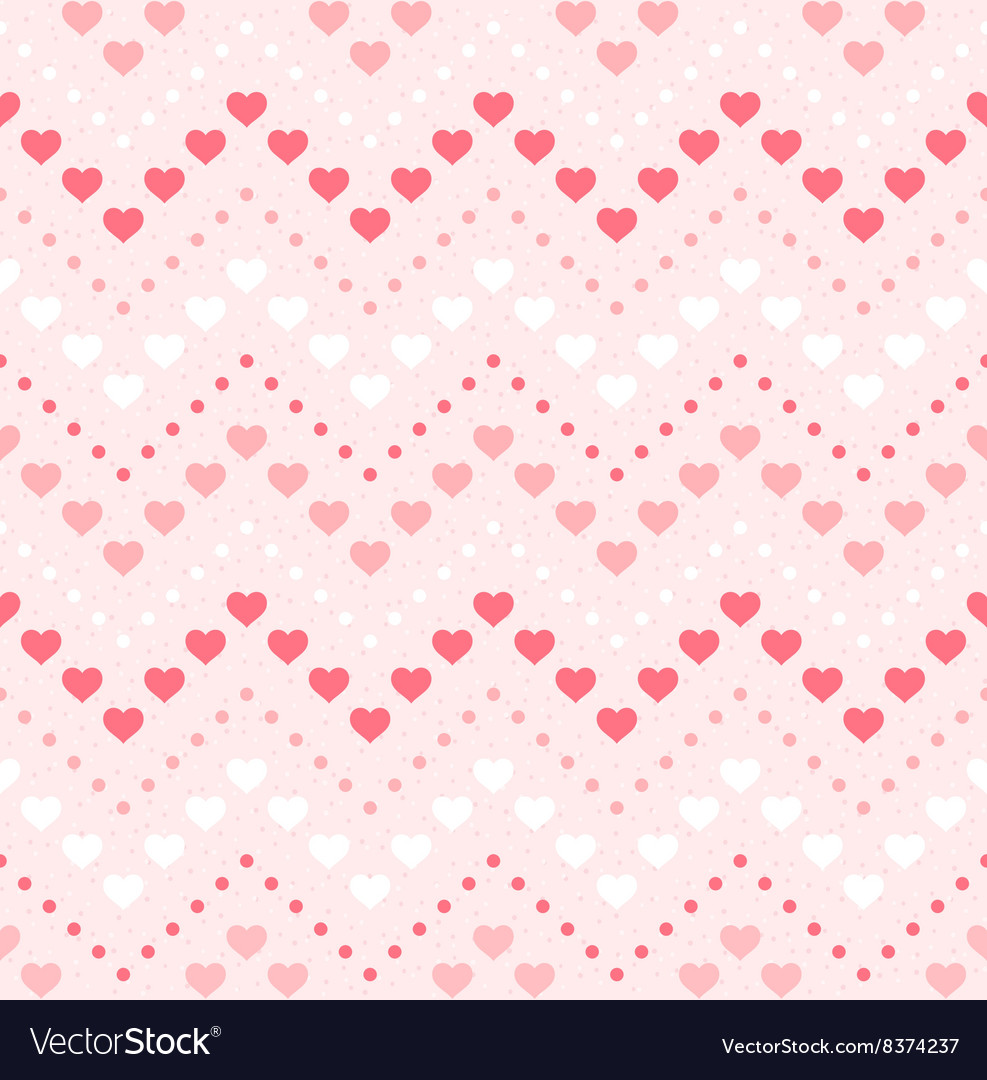 Retro seamless geometric pattern Color hearts and