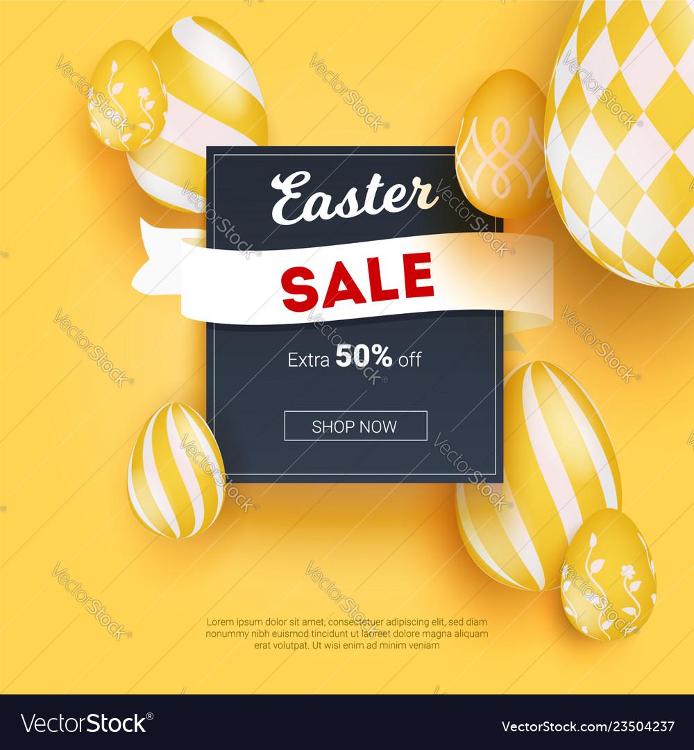 Sale on easter holidays realistic three