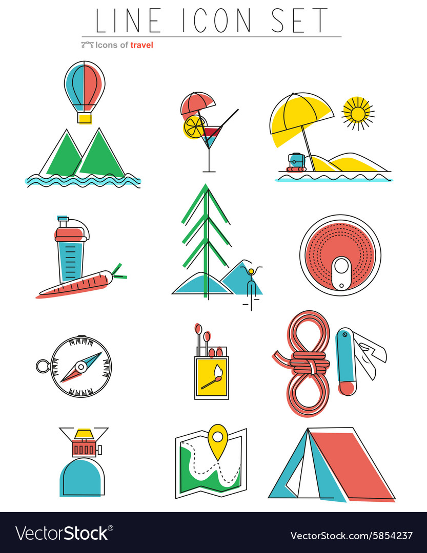 Travel line icons set Outdoor equipment camping