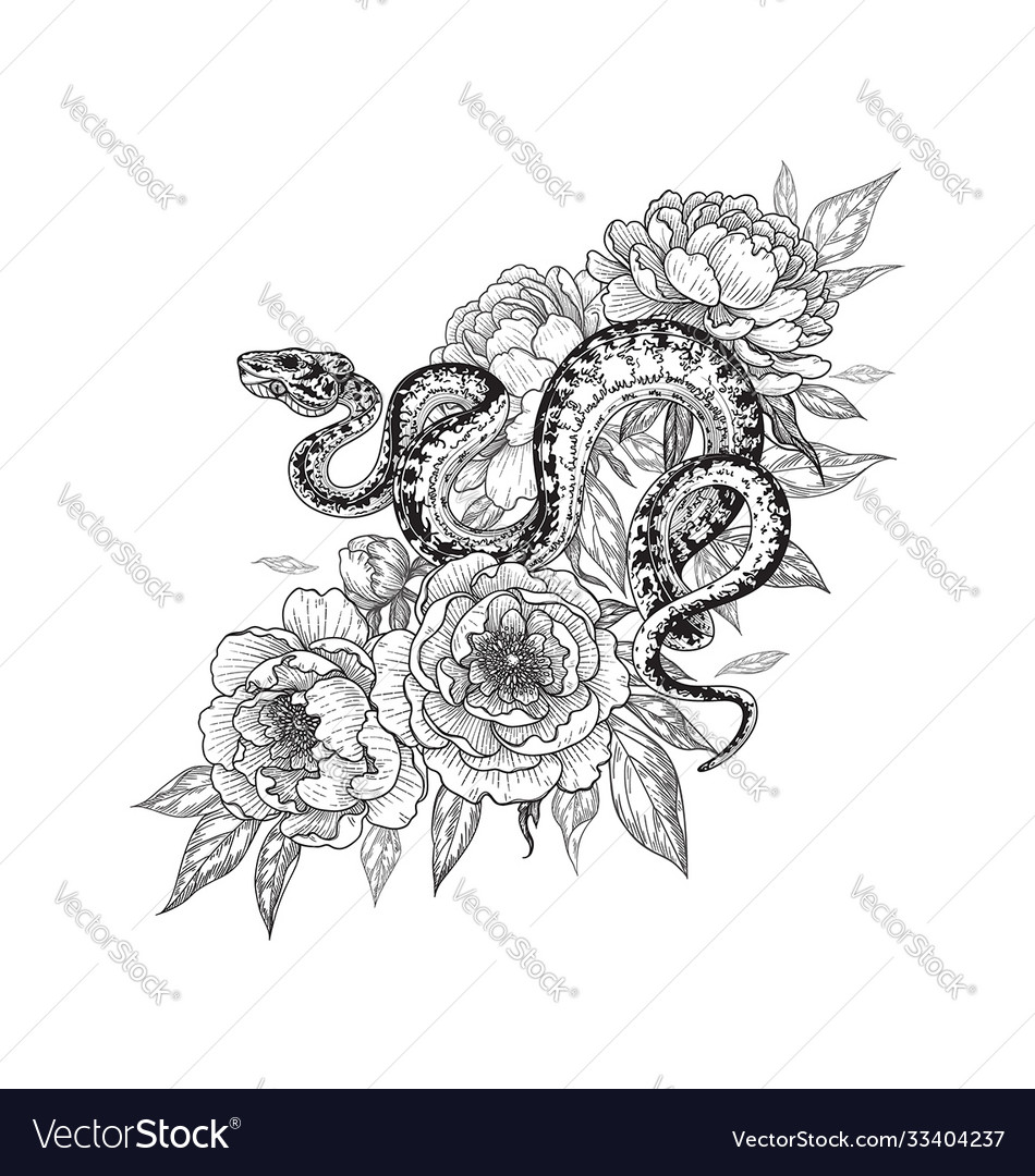 Twisted snake among peony flowers