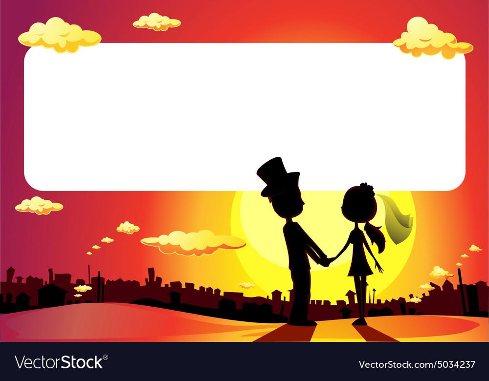 Wedding silhouette in sunset - frame