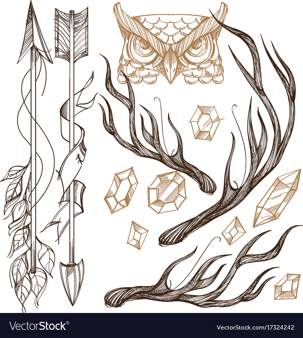 Arrows antlers gems and owls head collection vector image