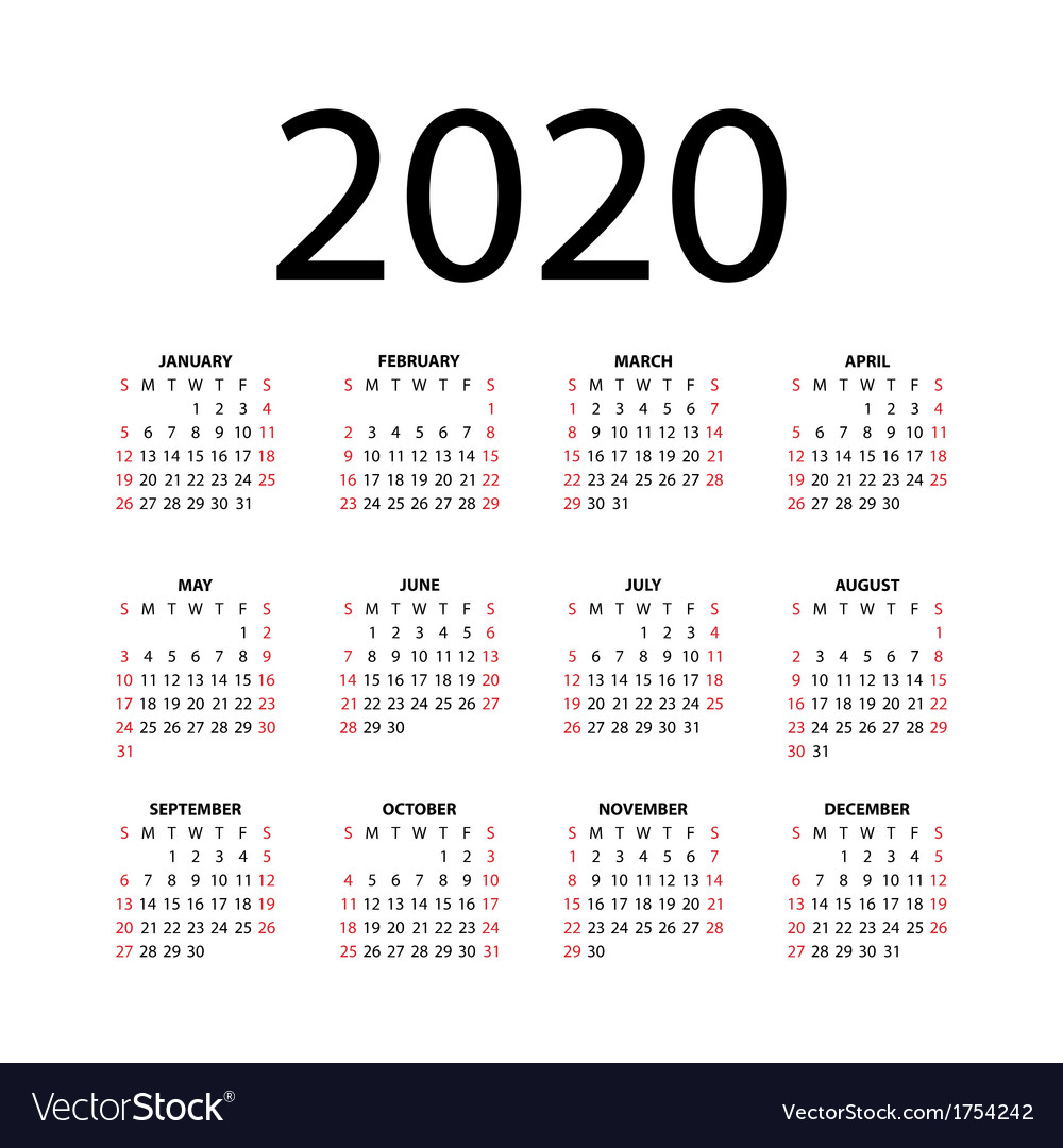 Calendar 2020 Vector Calendar for 2020 Royalty Free Vector Image   VectorStock