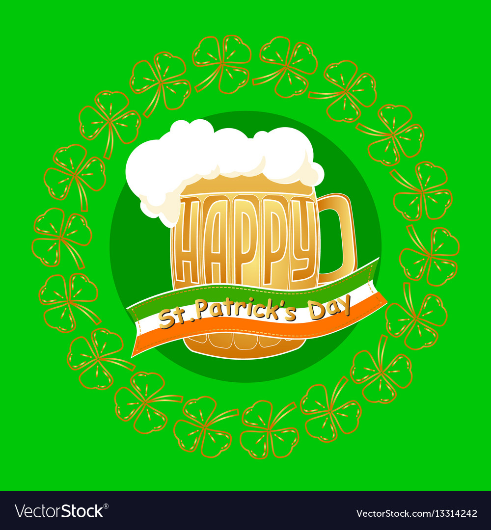 Happy st patrick day greeting card on gree