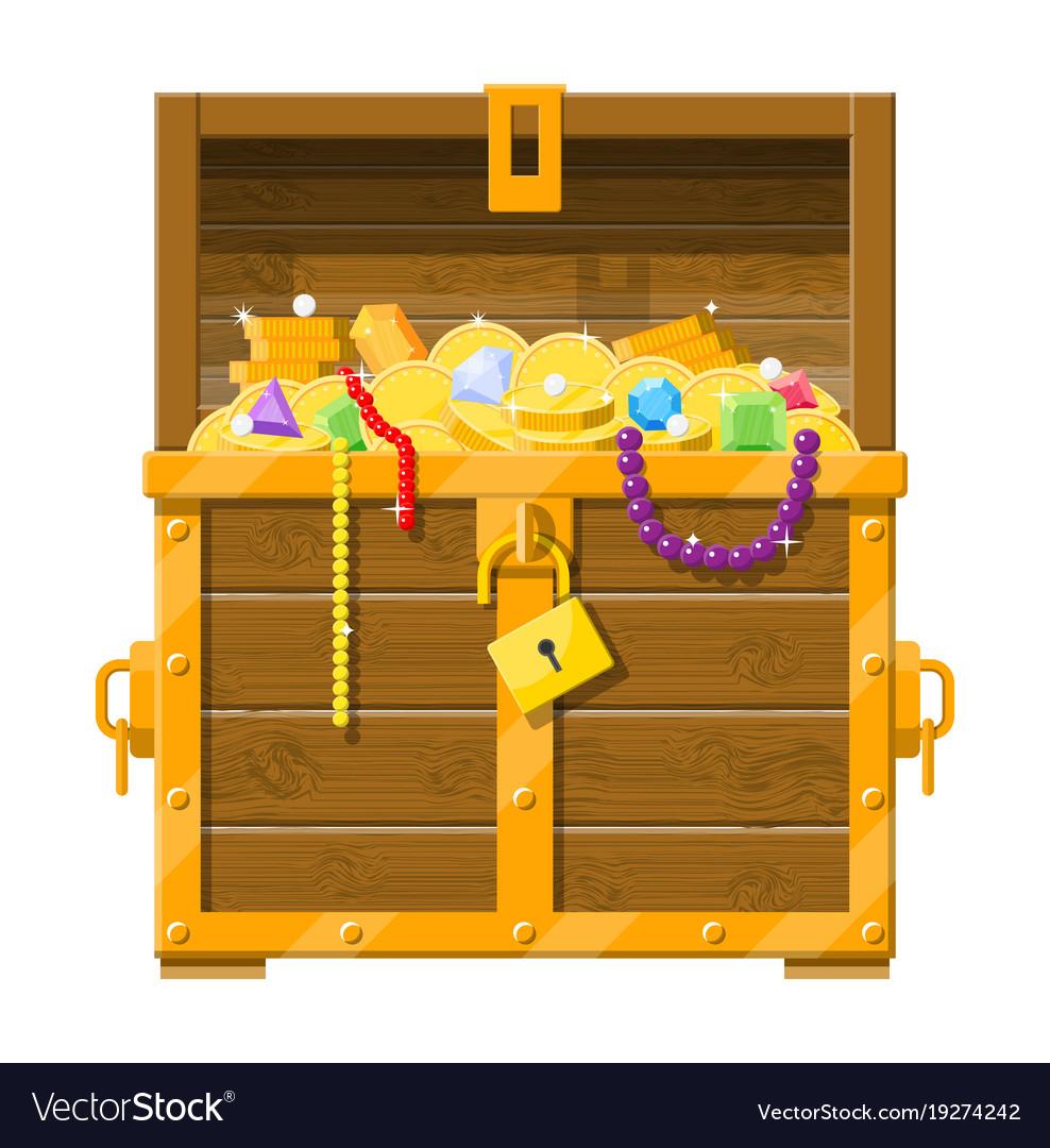 Opened chest full treasures