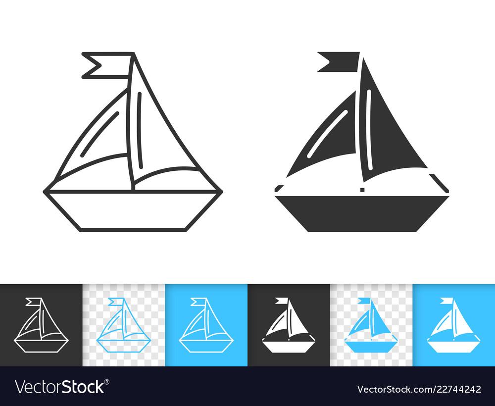 Sailing ship simple black line boat icon