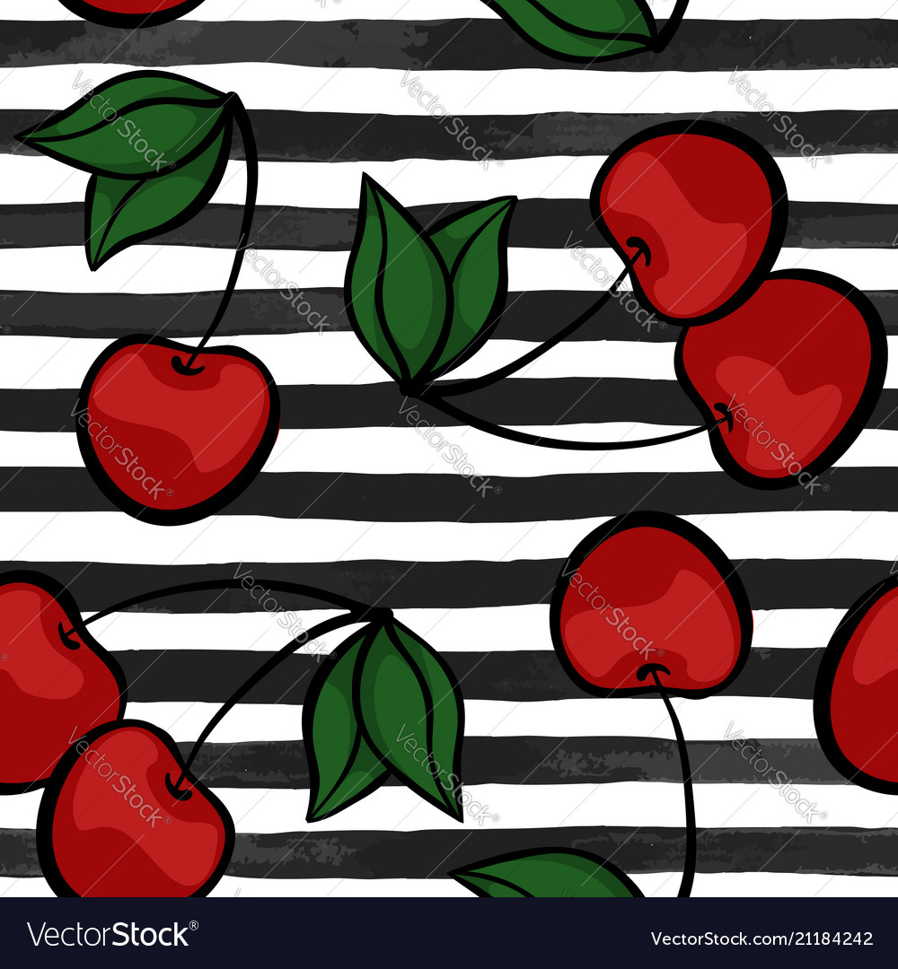 Seamless background with cherry on black and white