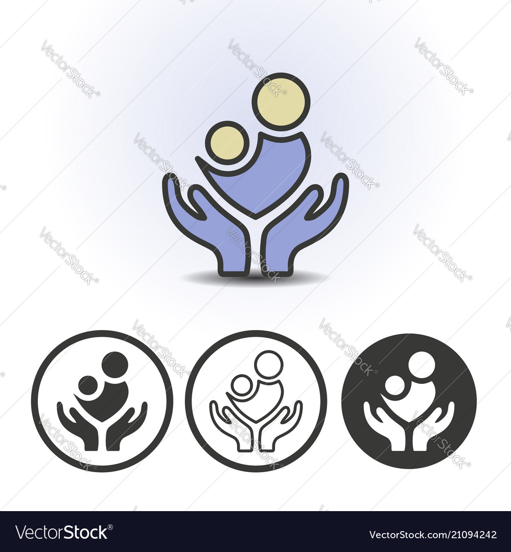 Support for mother and her baby icon vector image