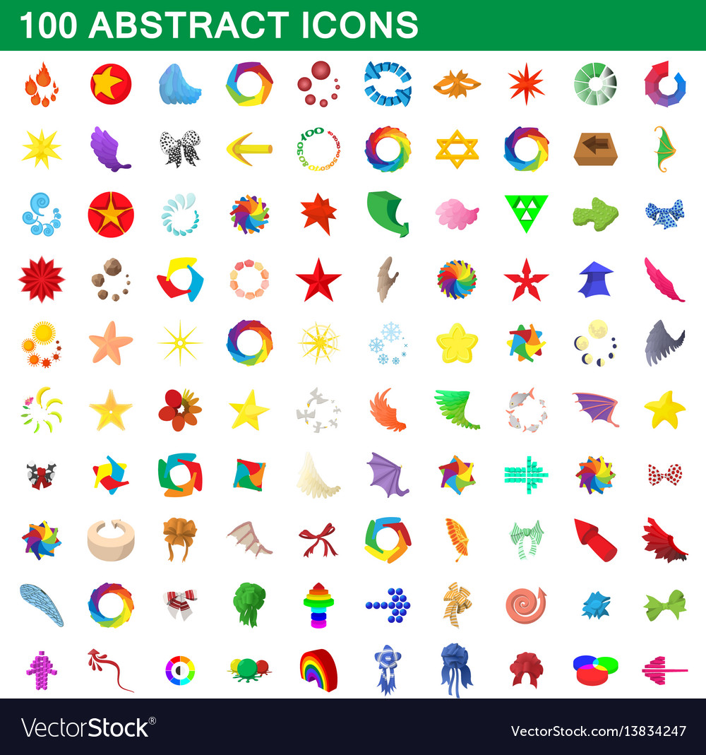 100 abstract icons set cartoon style