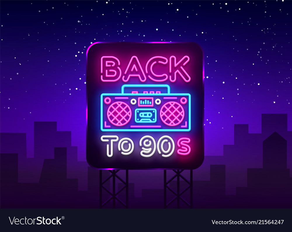 Back to 90s neon poster card or invitation