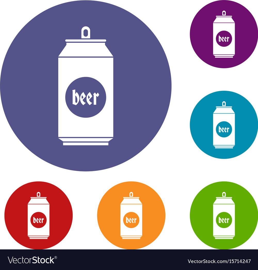 Beer in aluminum cans icons set