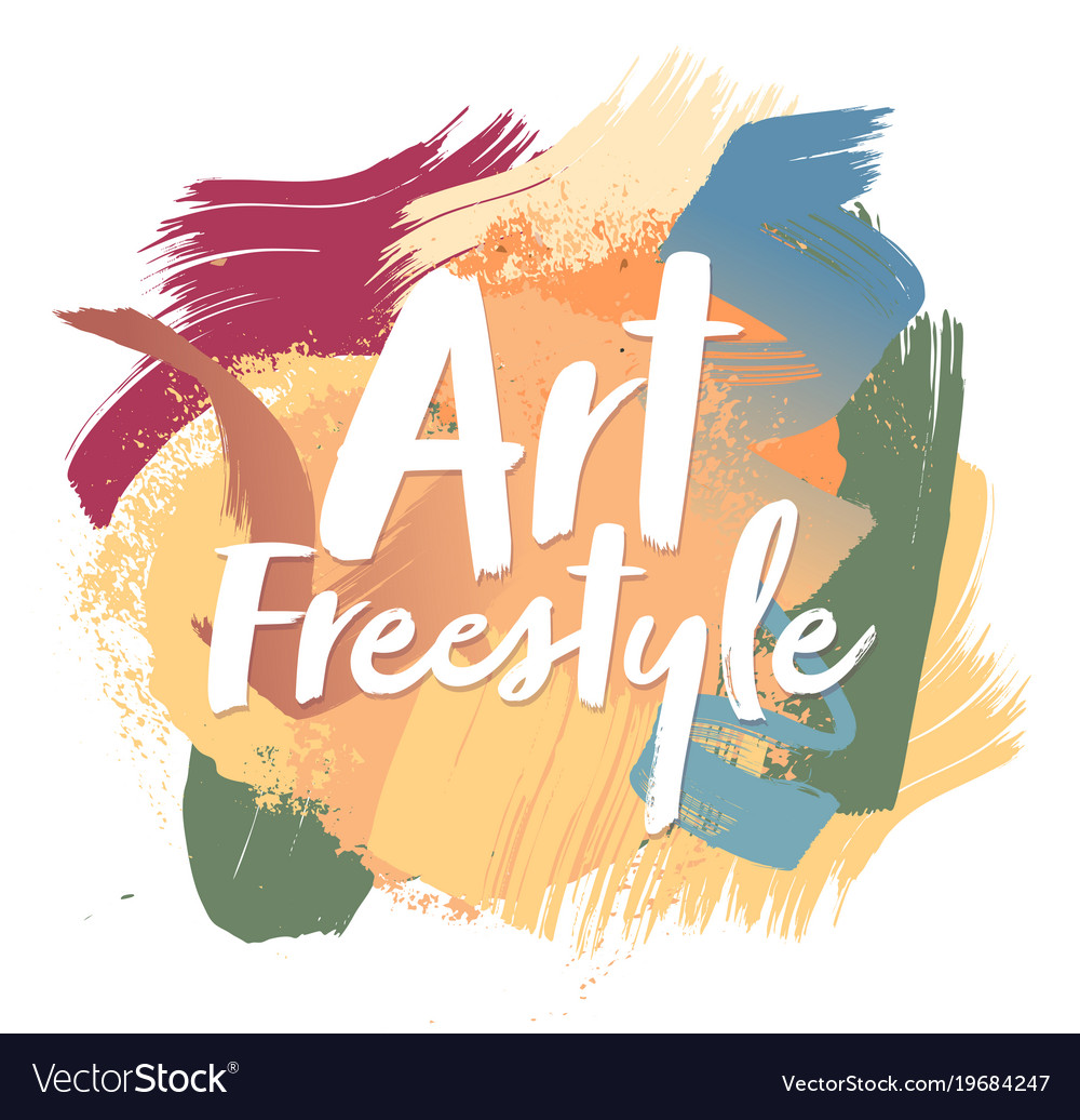Color brush strokes multicolored grunge style