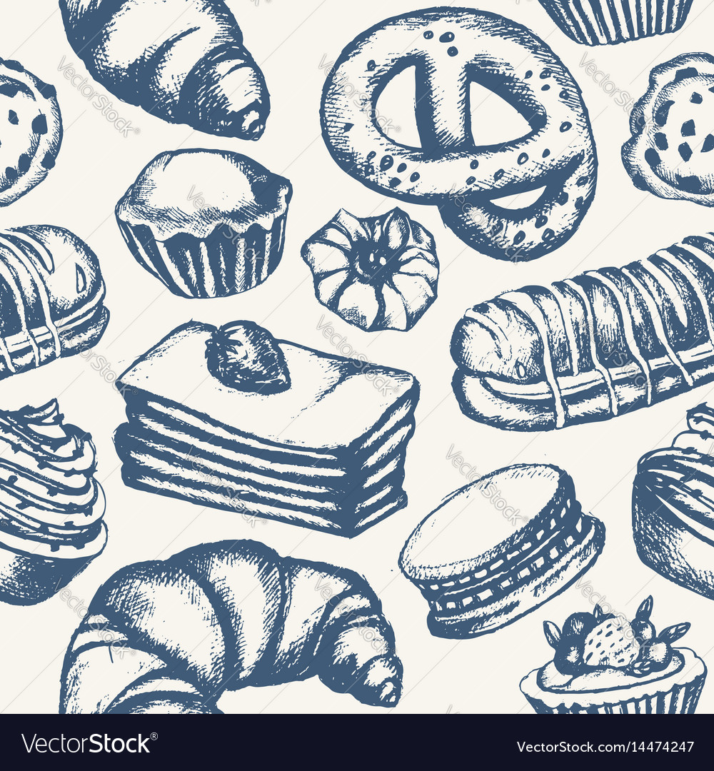 Delicious sweets - monochromatic hand drawn