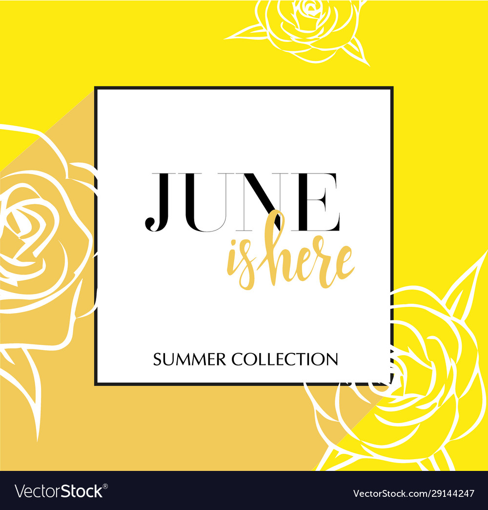 Design banner with lettering june is here logo