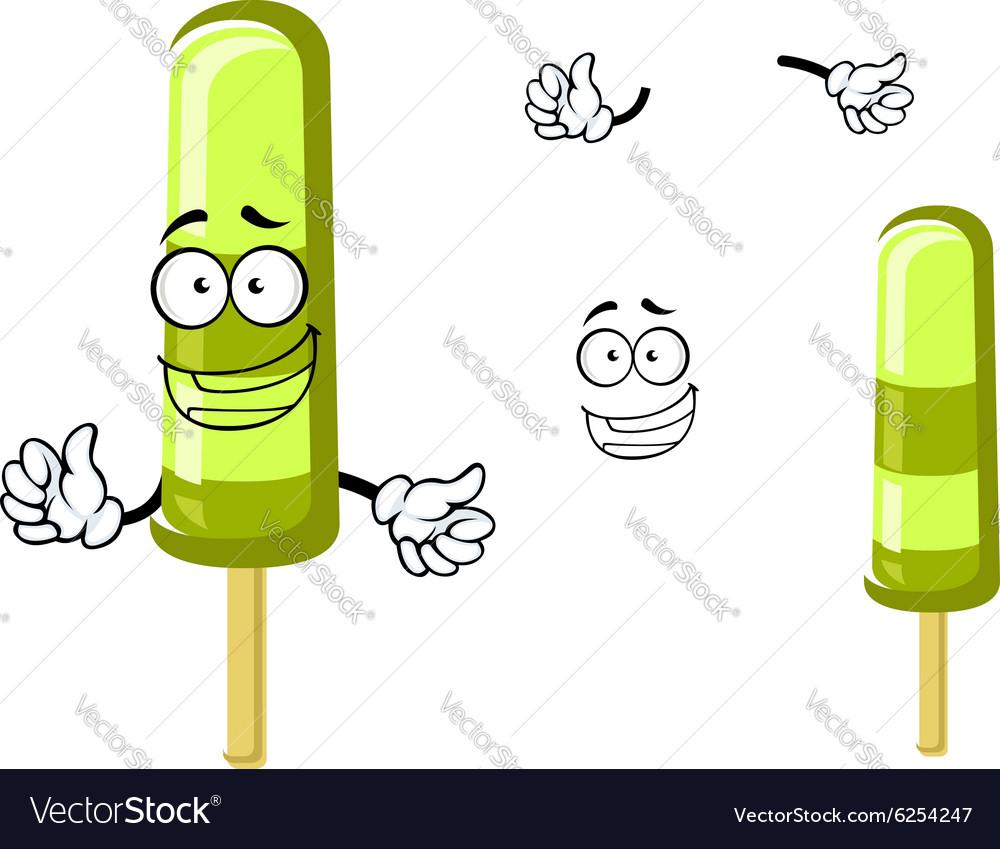 Happy green cartoon frozen ice cream