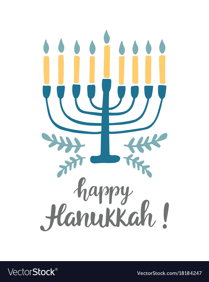 Happy hanukkah greeting card with modern lettering happy hanukkah greeting card with modern lettering vector image m4hsunfo