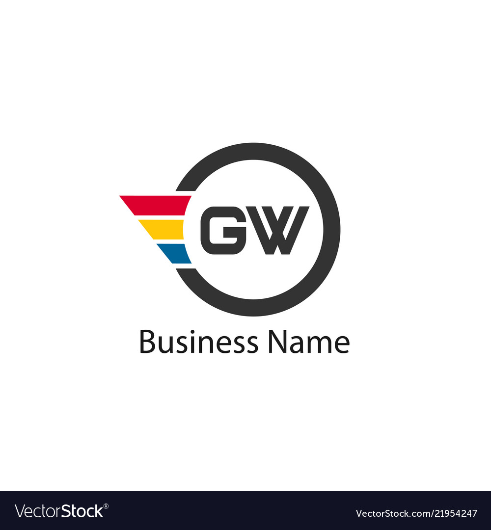 Initial letter gw logo template design