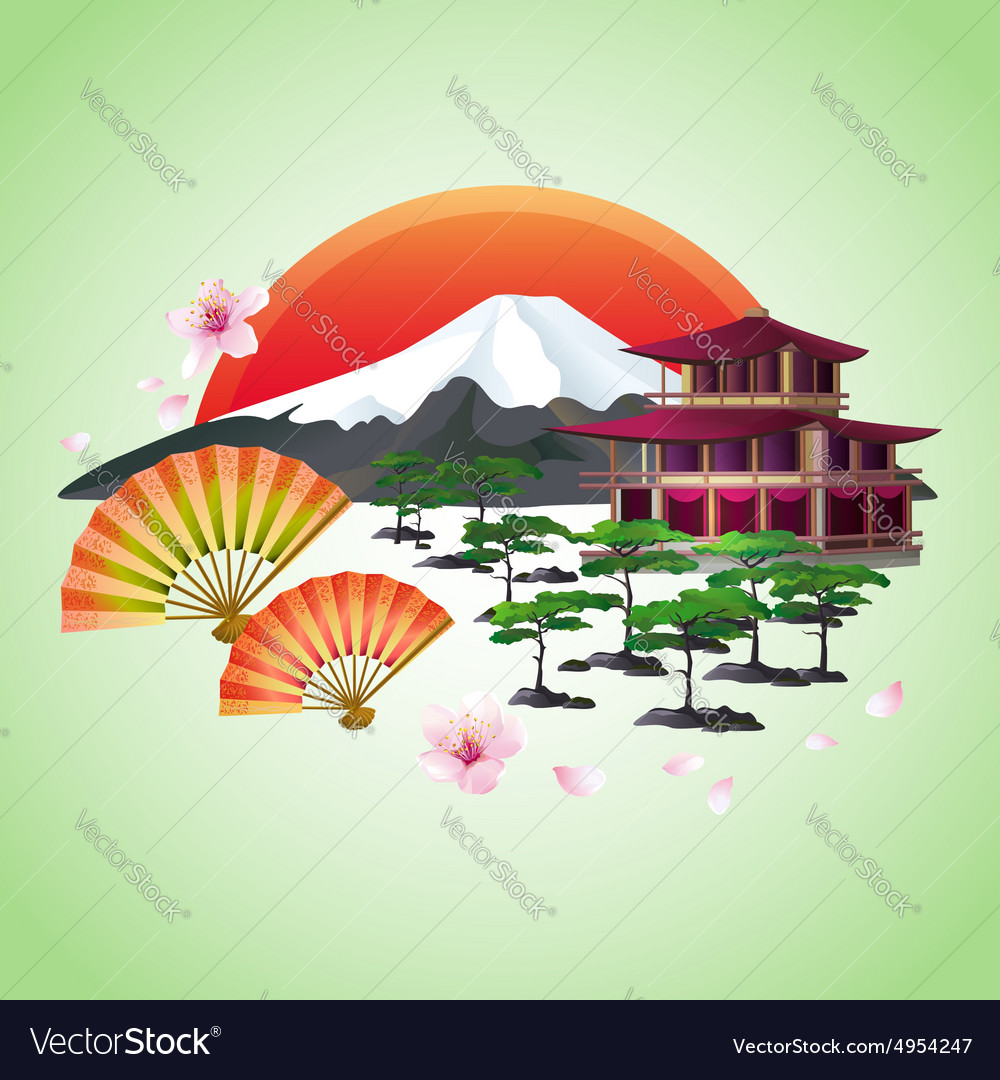 Japanese abstract background with fans mountain