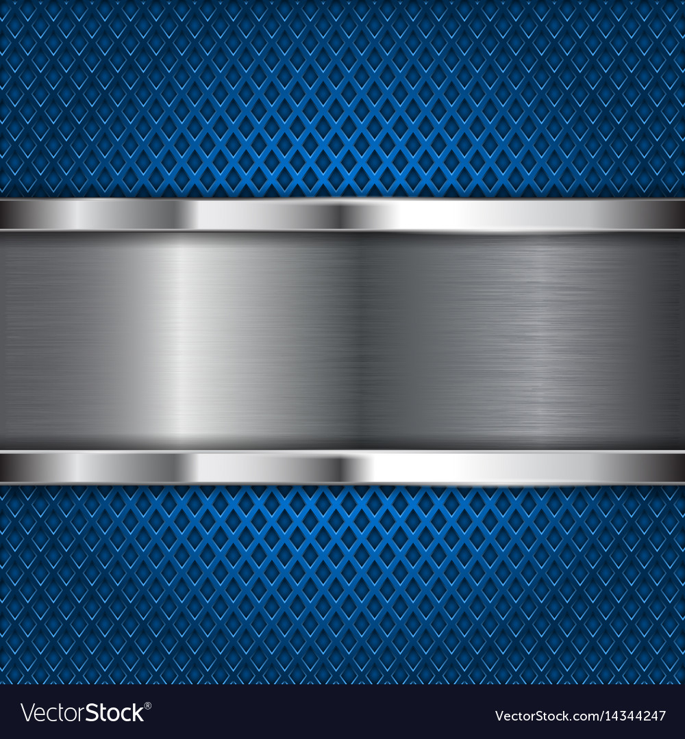 Metal brushed plate on blue perforated background vector image