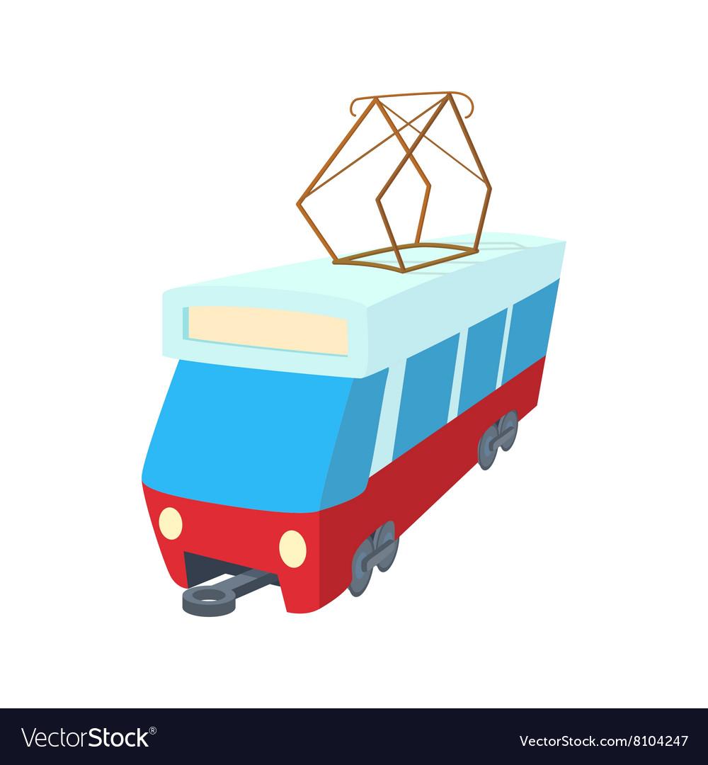 Red tram icon cartoon style