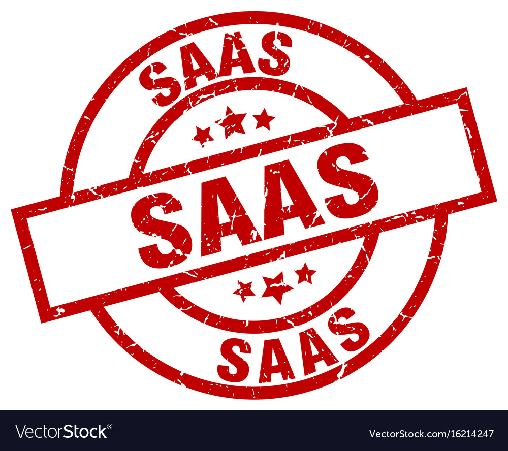 Saas round red grunge stamp vector image on VectorStock