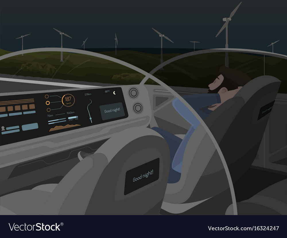 Self-driving electric car goes with sleeping