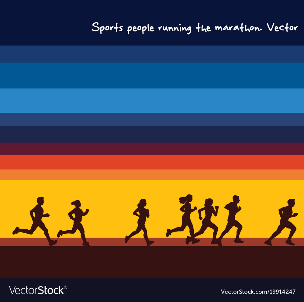 Sports people running marathon silhouettes and
