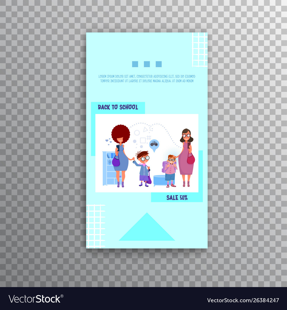 Vertical banner - back to school and sale flat