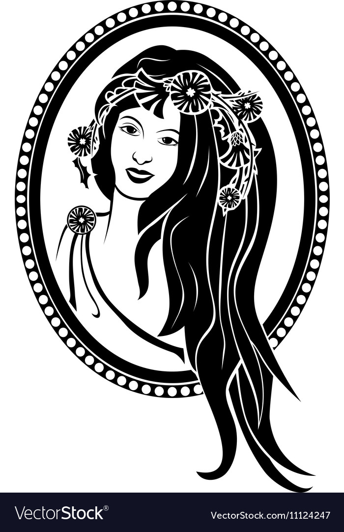 Vignette girl in a wreath vector image