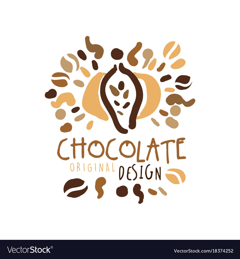 Chocolate hand drawn original logo design vector image