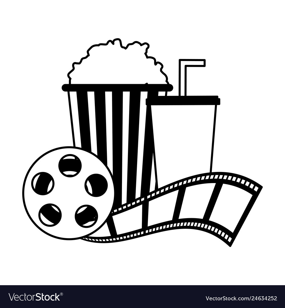 Cinema Popcorn And Soda Reel Strip Movie Film Vector Image