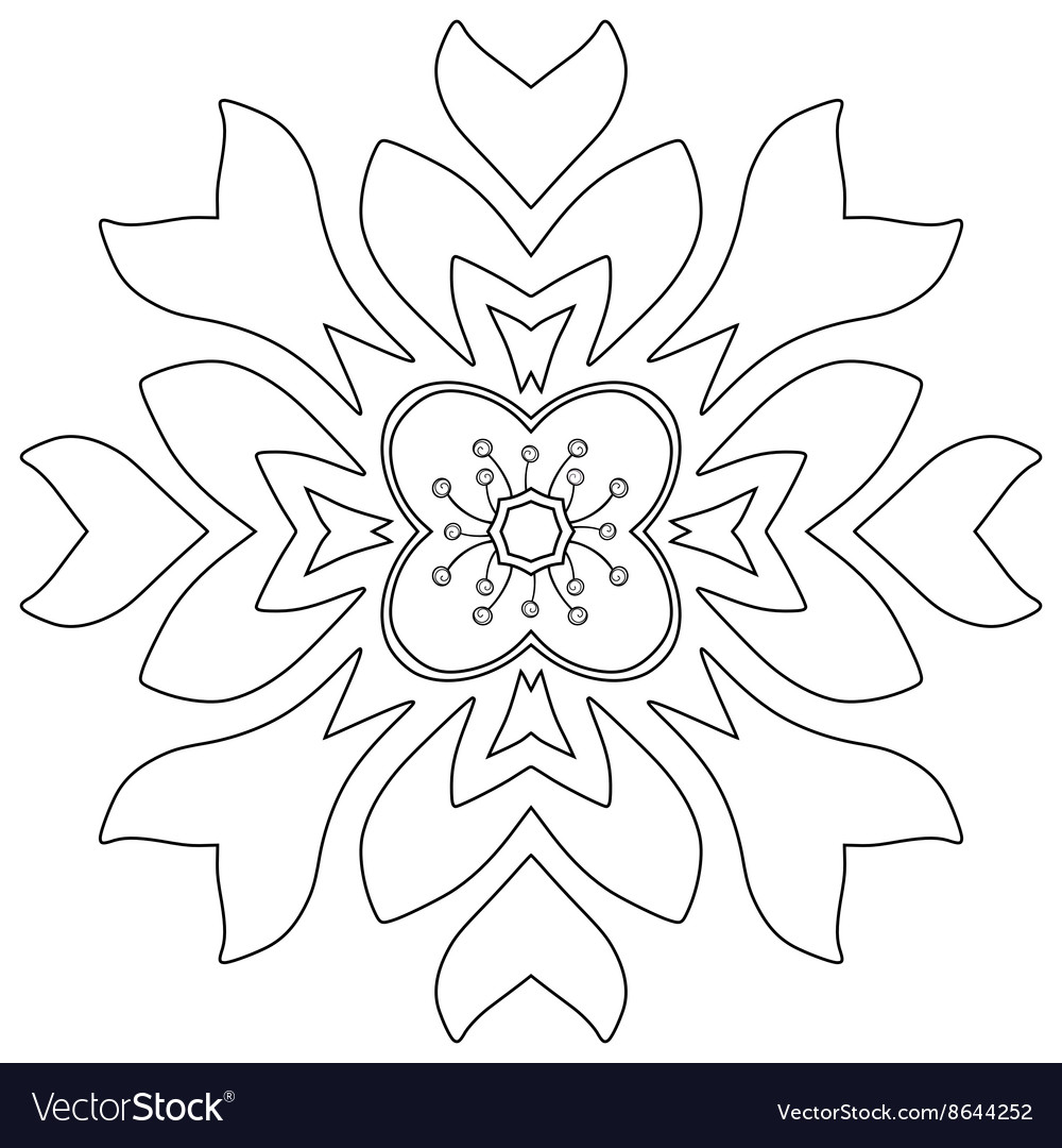 Fl Ornament Coloring Page Vector Image