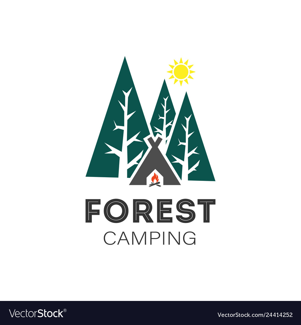 Forest camping logo on a white background