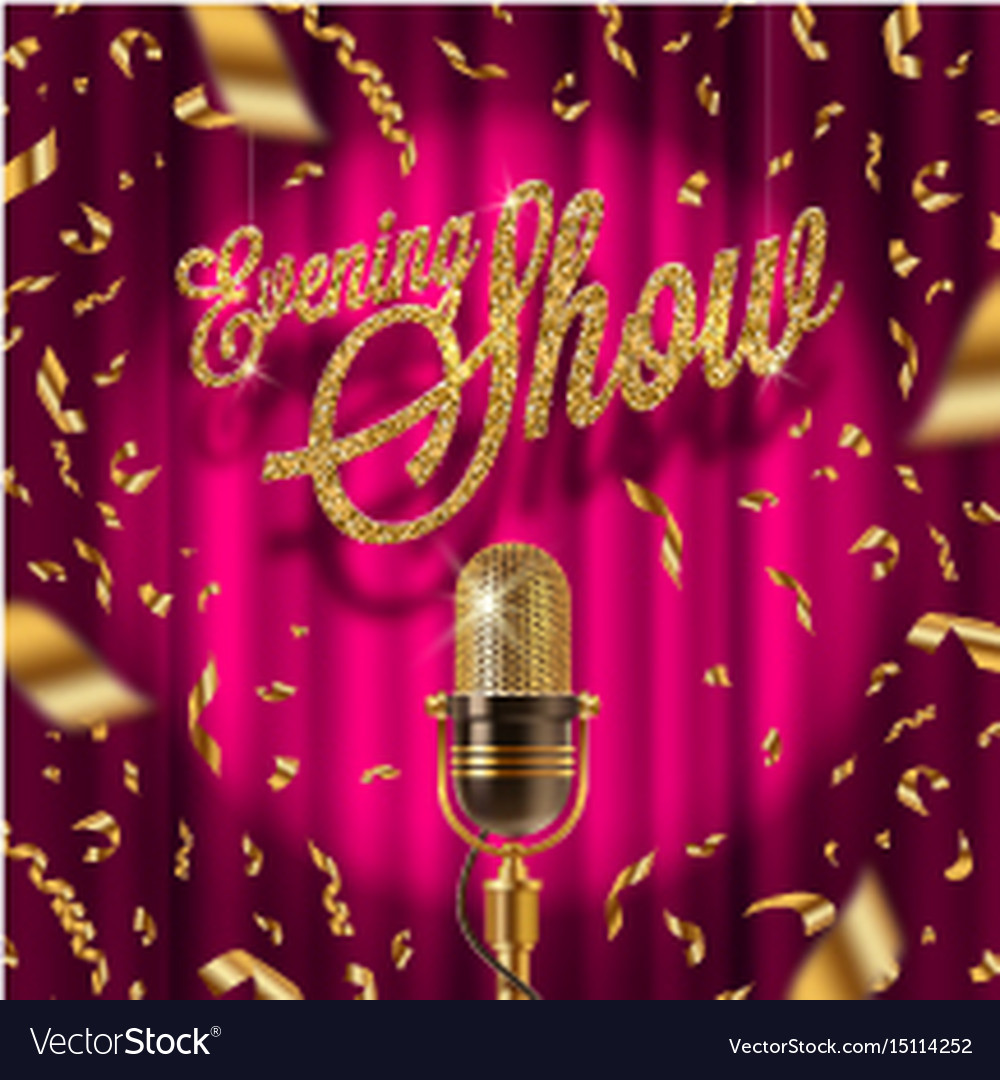 Golden signboard and retro microphone on stage vector image