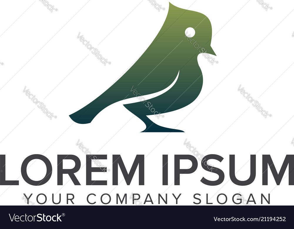Green bird logo design concept template