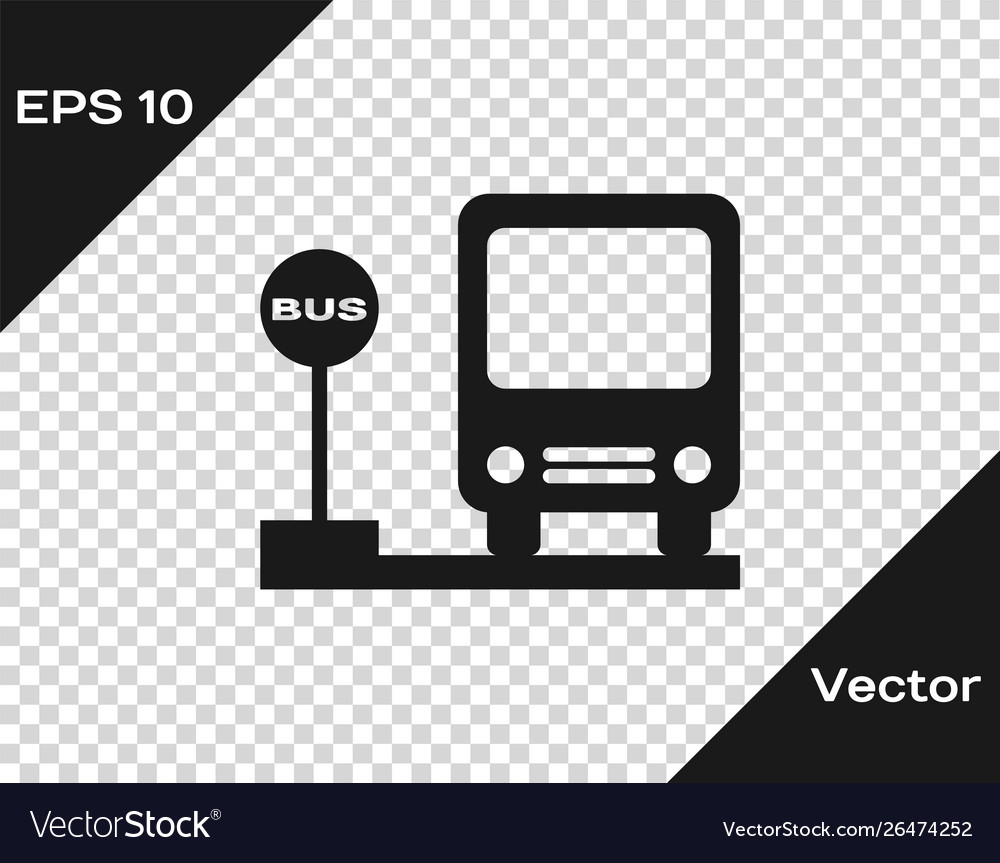 Grey bus stop icon isolated on transparent vector image