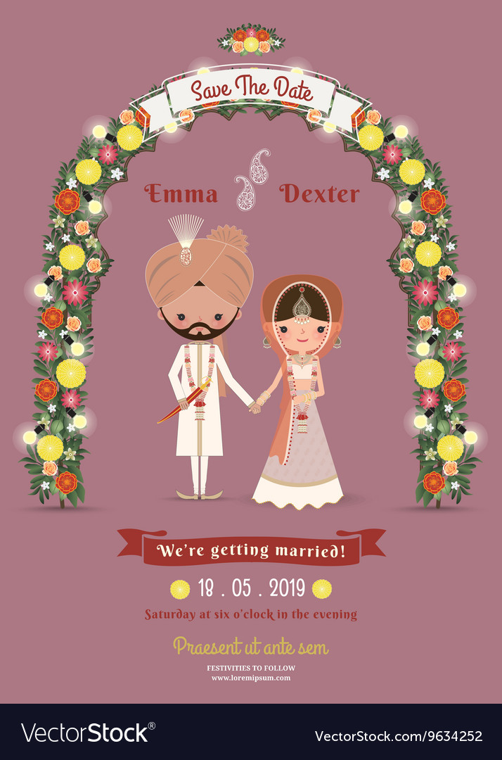 Indian Wedding Bride Groom Cartoon Romantic