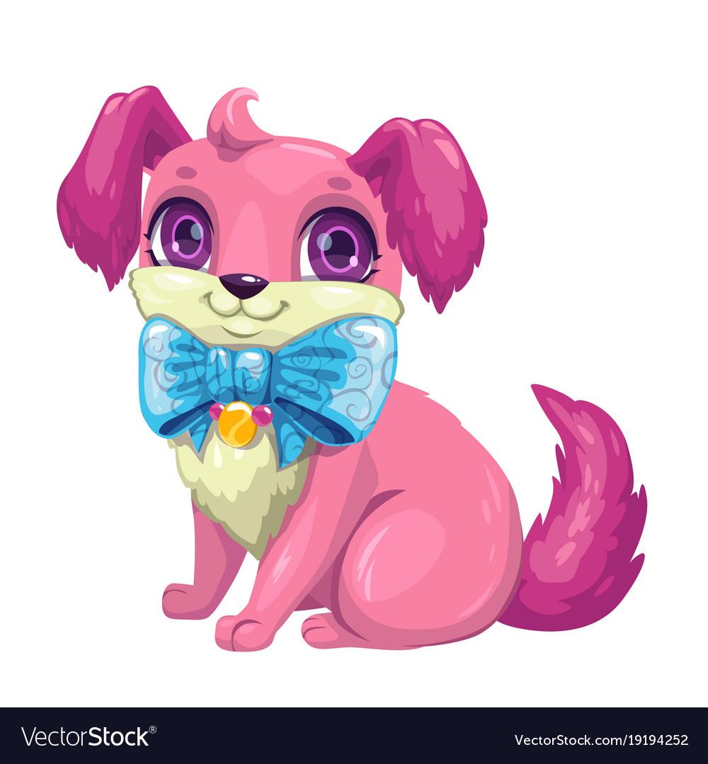 Little cute cartoon fluffy puppy
