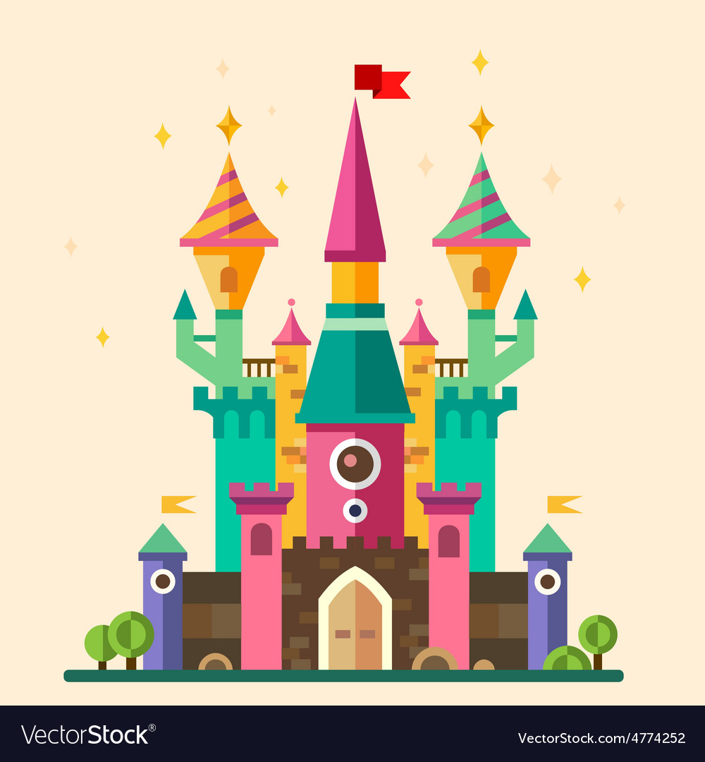Magical fabulous cartoon castle