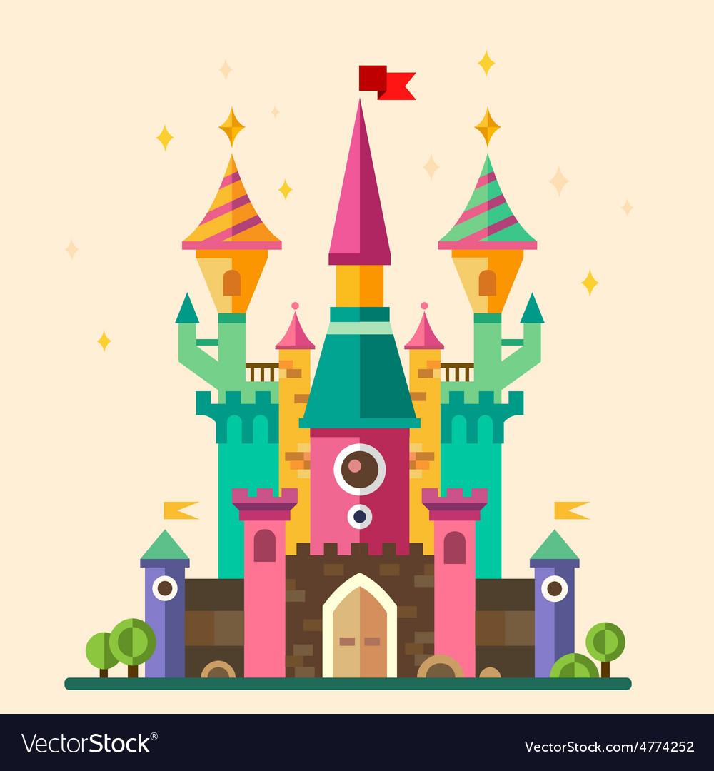 Magical Fabulous Cartoon Castle Royalty Free Vector Image