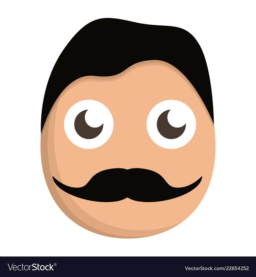 Mustache man face icon cartoon style