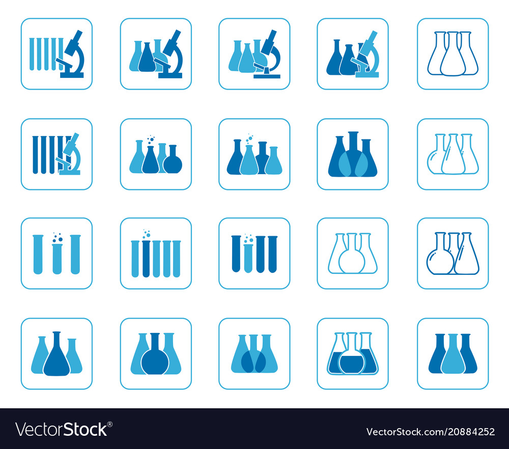 Set of of chemical lab icons