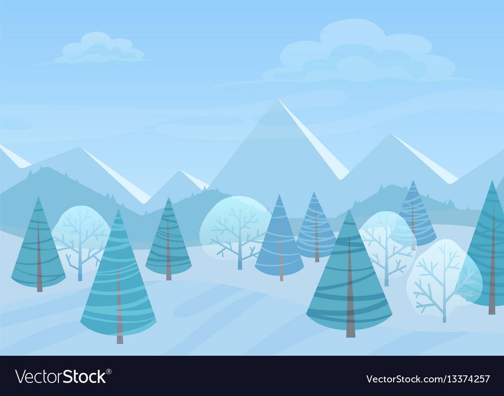 Beautiful chrismas winter flat landscape